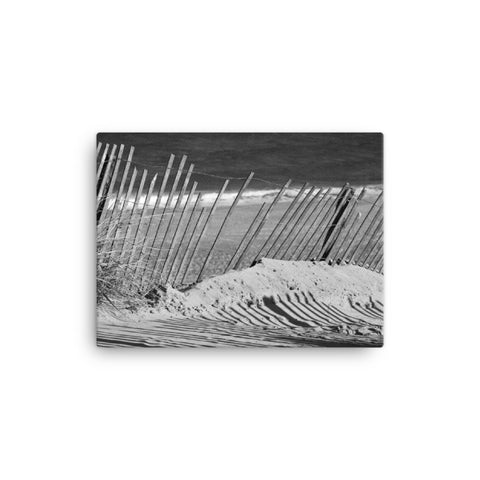 Sandy Beach Fence Black and White Coastal Landscape Canvas Wall Art Prints