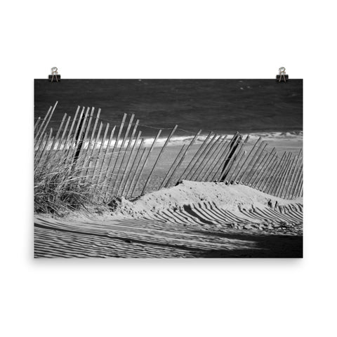 Sandy Beach Fence Black and White Landscape Photo Loose Wall Art Prints