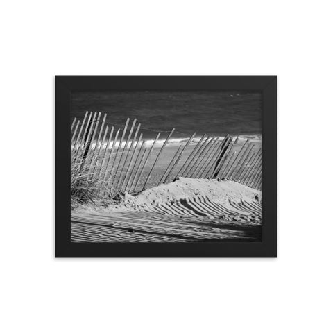 Sandy Beach Fence at the Shore Landscape Framed Photo Paper Wall Art Prints