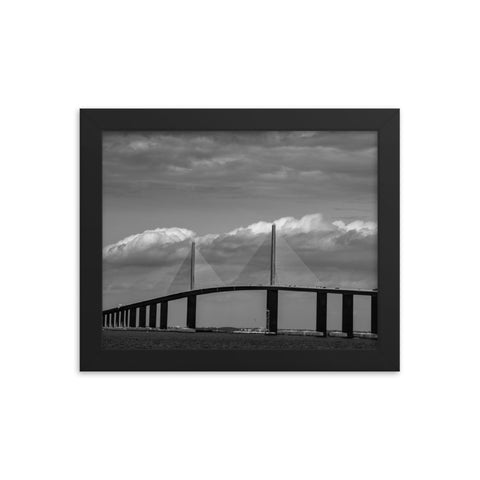 Skyway Bridge Black and White Coastal Landscape Framed Photo Paper Wall Art Prints