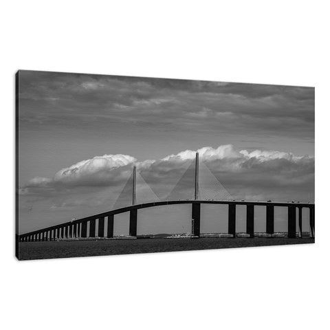 Skyway Bridge Black and White Coastal Landscape Photo Fine Art Canvas Wall Art Prints