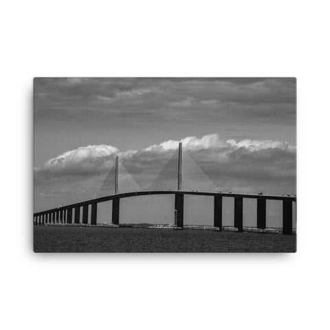 Skyway Bridge Black and White Coastal Landscape Canvas Wall Art Prints