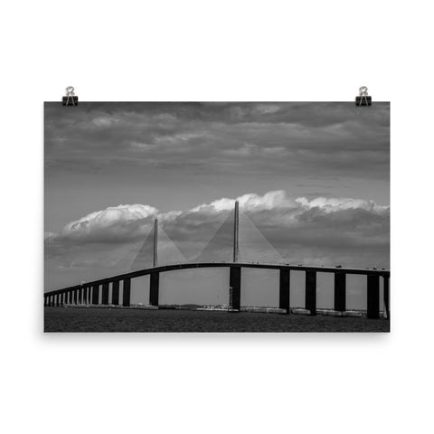 Skyway Bridge Black and White Landscape Photo Loose Wall Art Prints