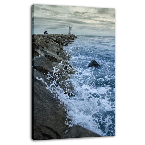 Splashing on the Jetty Coastal Landscape Photo Fine Art Canvas Wall Art Prints