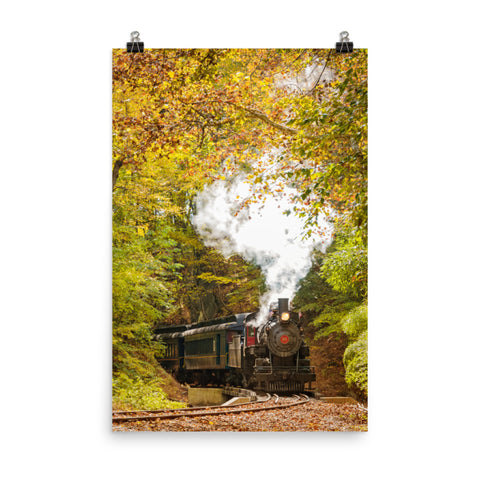 Steam Train with Autumn Foliage Landscape Photo Loose Wall Art Print