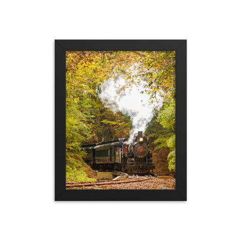 Steam Train with Autumn Foliage Rural Landscape Framed Photo Paper Wall Art Prints