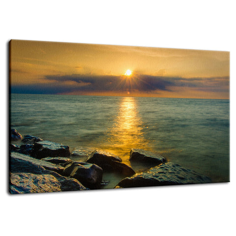 Sun Ray on the Water Coastal Landscape Photograph Fine Art Canvas Wall Art Prints