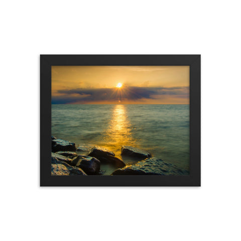 Sun Ray on the Water Coastal Landscape Framed Photo Paper Wall Art Prints