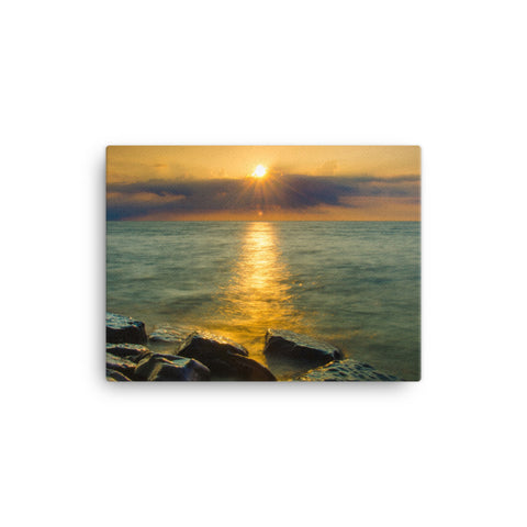 Sun Ray on the Water Coastal Landscape Canvas Wall Art Prints
