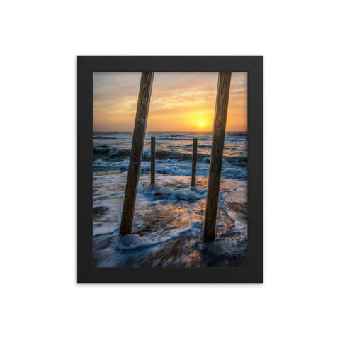Sunrise Between the Pillars Coastal Landscape Framed Photo Paper Wall Art Prints