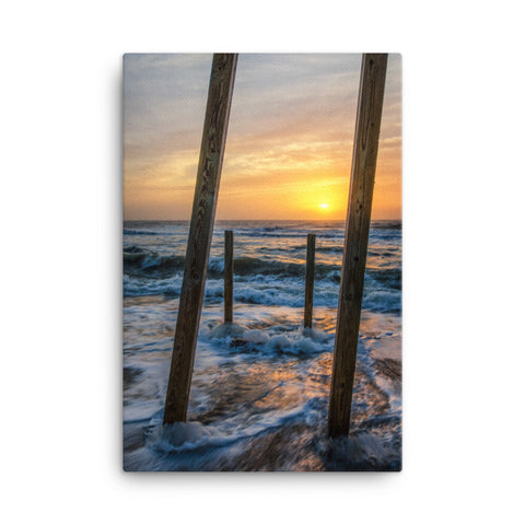Sunrise Between the Pillars Coastal Landscape Canvas Wall Art Prints