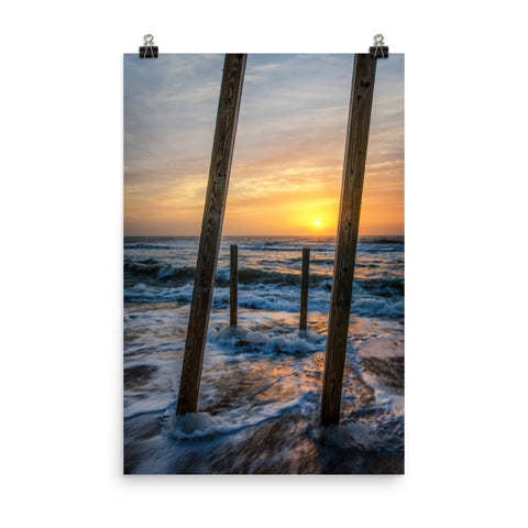Sunrise Between the Pillars Landscape Photo Loose Wall Art Print