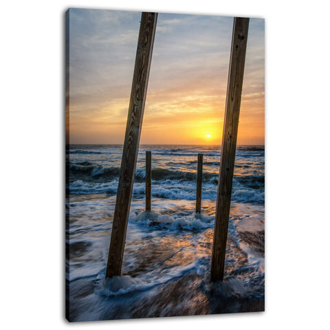 Sunrise Between the Pillars Coastal Landscape Photo Fine Art Canvas Wall Art Prints