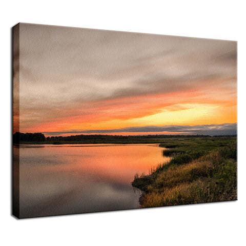 Sunset Over Woodland Marsh Landscape Photo Fine Art Canvas Wall Art Prints