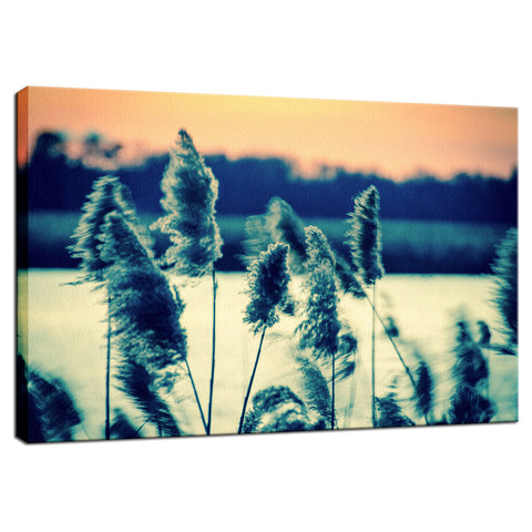 Sunset on the Marsh with Grasses Movement Fine Art Canvas Wall Art Prints