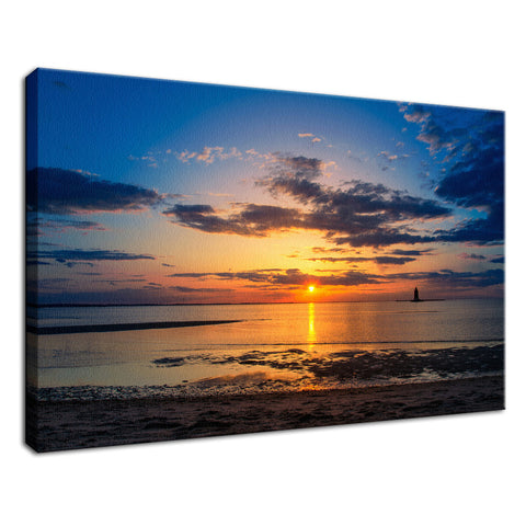 Sunset at Breakwater Lighthouse Landscape Photo Fine Art Canvas Wall Art Prints