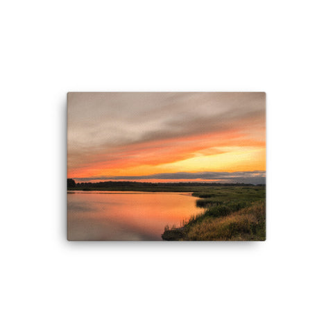 Sunset Over Woodland Marsh Coastal Landscape Canvas Wall Art Prints