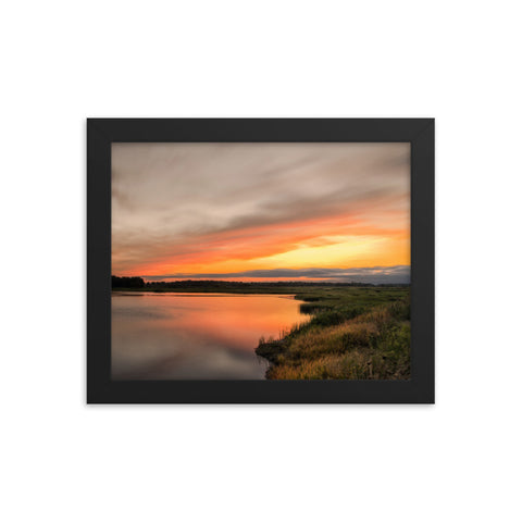 Sunset Over Woodland Marsh Framed Photo Paper Wall Art Prints