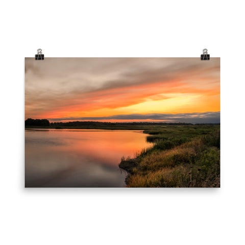 Sunset Over Woodland Marsh Landscape Photo Loose Wall Art Prints