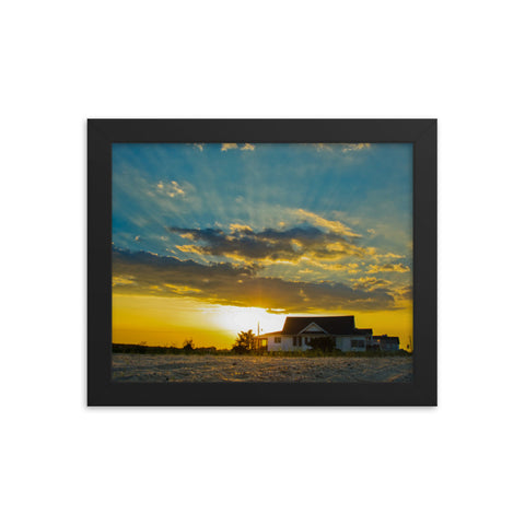 Sunset at Bowers Beach Coastal Landscape Framed Photo Paper Wall Art Prints