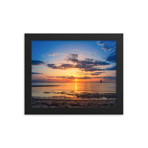 Sunset at Breakwater Lighthouse Landscape Framed Photo Paper Wall Art Prints