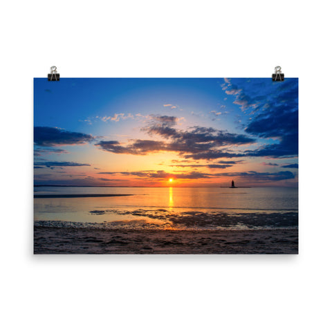 Sunset at Breakwater Lighthouse Landscape Photo Loose Wall Art Prints