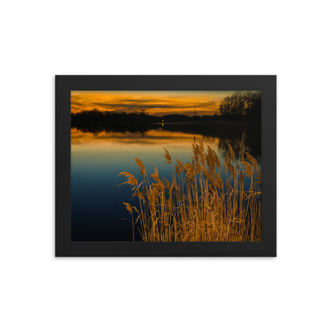 Sunset at Reedy Point Pond Landscape Framed Photo Paper Wall Art Prints