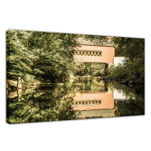 The Reflections of Wooddale Covered Bridge Aged Fine Art Canvas Wall Art Prints