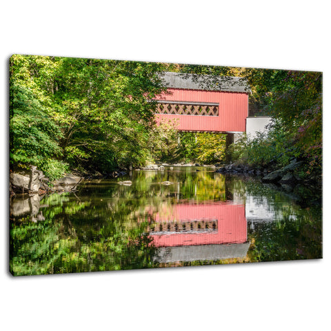 The Reflection of Wooddale Covered Bridge Fine Art Canvas Wall Art Prints