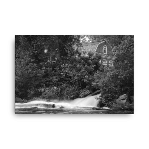 The Brandywine River & First Presbyterian Church Black & White Canvas Wall Art Prints