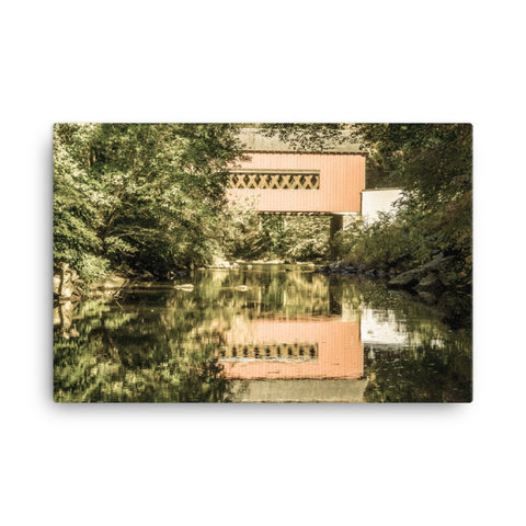 The Reflection of Wooddale Covered Bridge Aged Canvas Wall Art Prints