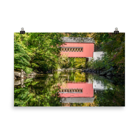 The Reflection of Wooddale Covered Bridge Landscape Photo Loose Wall Art Prints