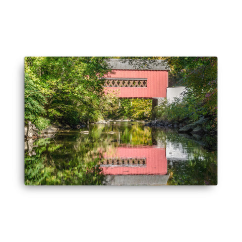 The Reflection of Wooddale Covered Bridge Rural Landscape Canvas Wall Art Prints
