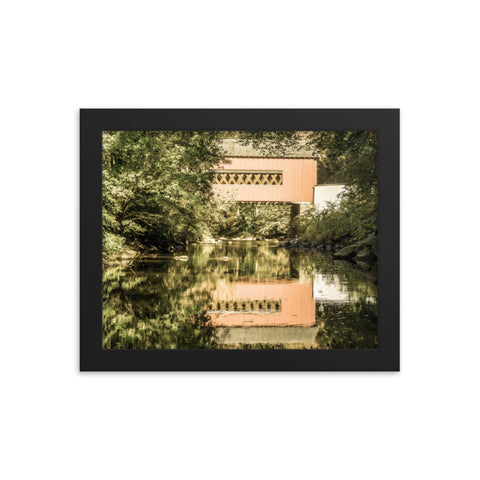 The Reflections of Wooddale Covered Bridge Aged Framed Photo Paper Wall Art Prints