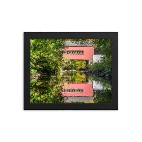 The Reflections of Wooddale Covered Bridge Framed Photo Paper Wall Art Prints
