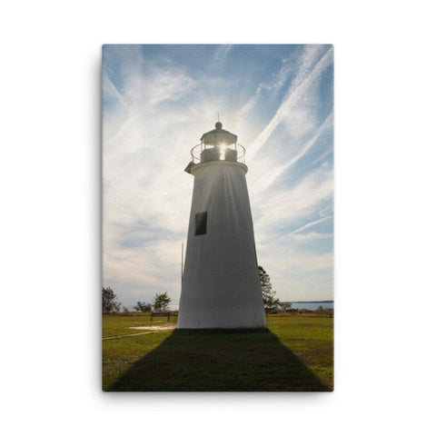 Turkey Point Lighthouse with Sun Flare Coastal Landscape Canvas Wall Art Prints