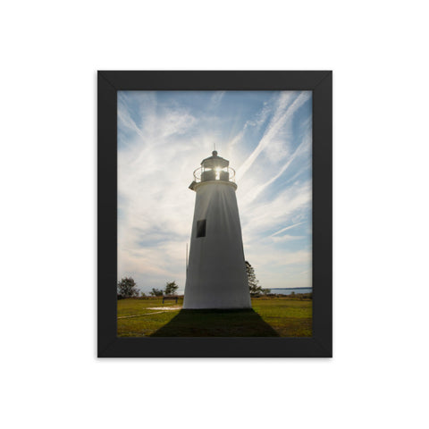 Turkey Point Lighthouse with Sun Flare Framed Photo Paper Wall Art Prints