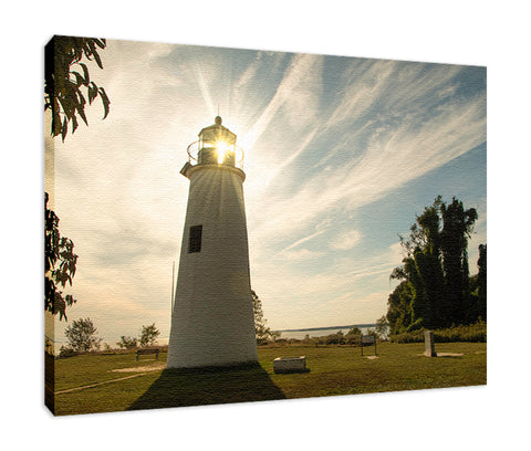 Turkey Point Lighthouse with Sun Flare Horizontal Landscape Fine Art Canvas Wall Art Prints