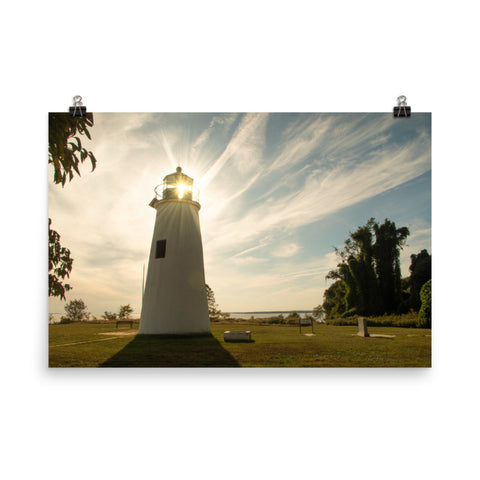 Turkey Point Lighthouse with Sun Flare Horizontal Loose Wall Art Prints