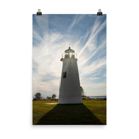 Turkey Point Lighthouse with Sun Flare Landscape Photo Loose Wall Art Print