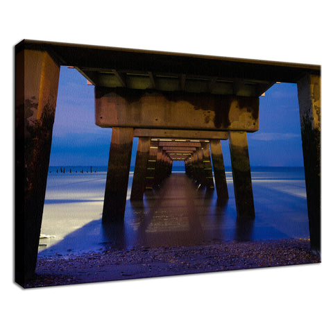 Under the Pier Coastal Landscape Photo Fine Art Canvas Wall Art Prints
