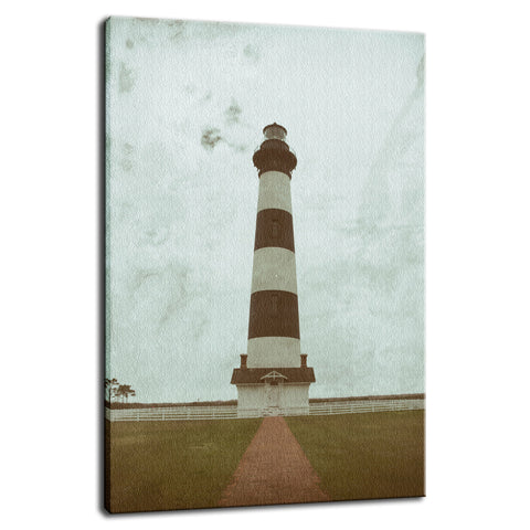 Bodie Lighthouse Glass Plate Effect Coastal Landscape Photo Fine Art Canvas Wall Art Prints