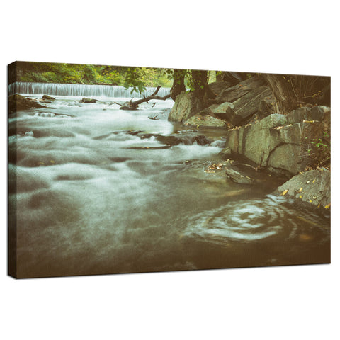 Water Swirl in the River Rustic Landscape Fine Art Canvas Wall Art Prints