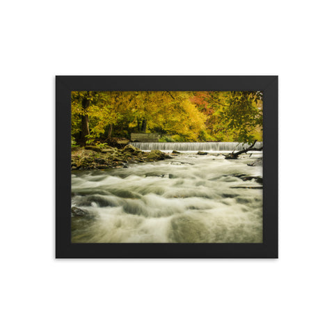Waterfalls in the Autumn Foliage Landscape Framed Photo Paper Wall Art Prints