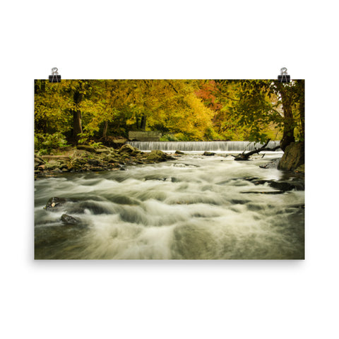 Waterfalls in the Autumn Foliage Landscape Photo Loose Wall Art Prints