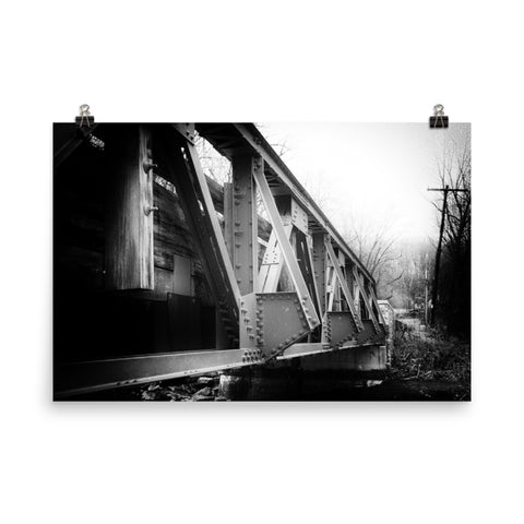 White Clay Creek Bridge Black and White Landscape Photo Loose Wall Art Prints