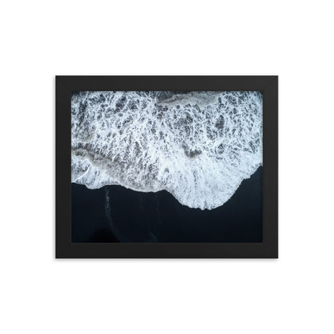 White Waters and Black Sand Coastal Landscape Framed Photo Paper Wall Art Prints