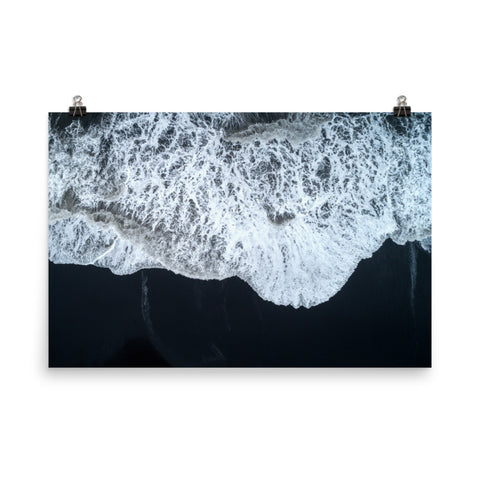 White Waters and Black Sand Landscape Photo Loose Wall Art Prints