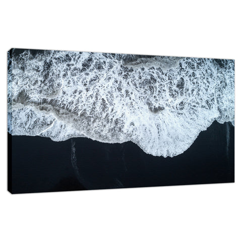White Waters and Black Sand Coastal Landscape Fine Art Canvas Wall Art Prints