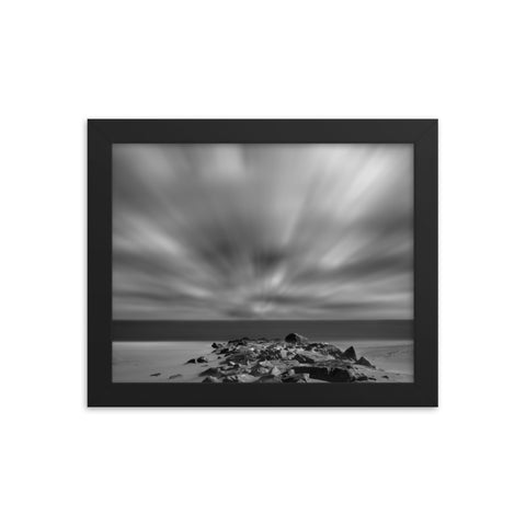 Windy Beach Black & White Landscape Framed Photo Paper Wall Art Prints